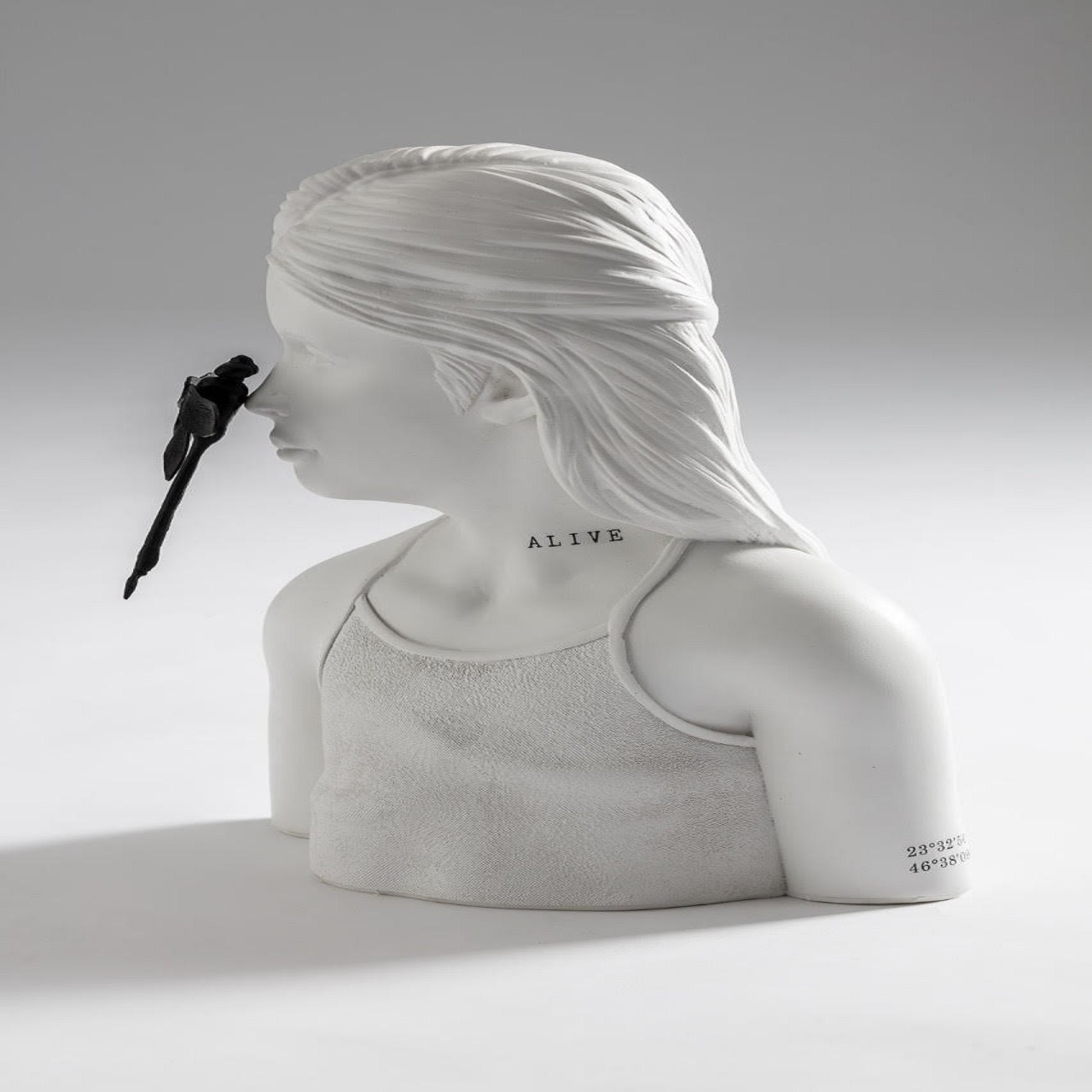 Escultura Busto Menina Libélula | branca
