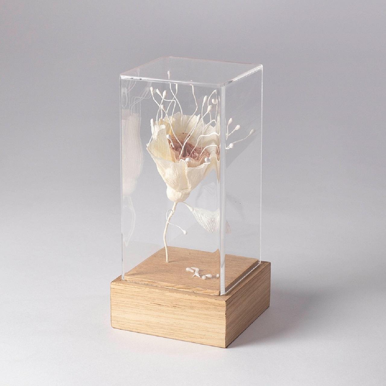 Escultura Flor Rosa/Bege/Pistilo