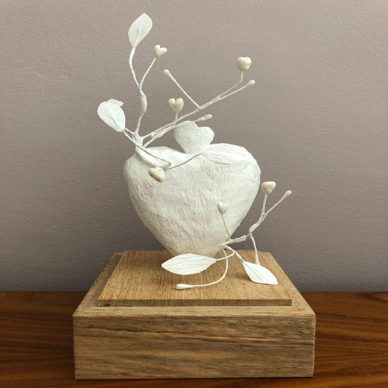 Escultura PP Coração Guirlanda | branca