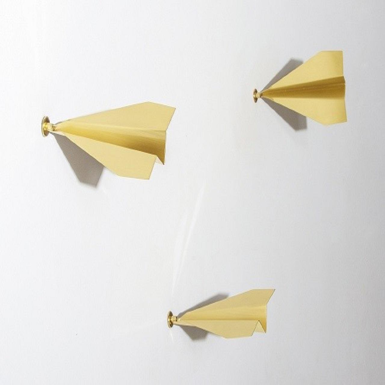 Escultura Trio Aviaozinho de Parede P | latao