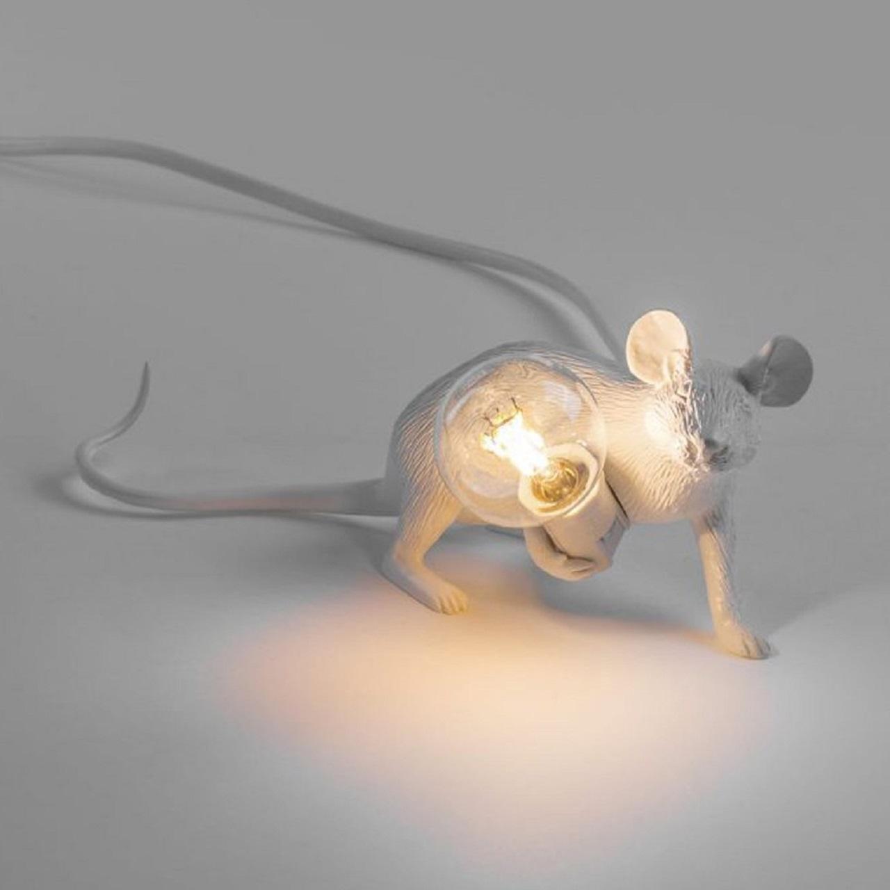 Luminária Mouse Deitado   branco