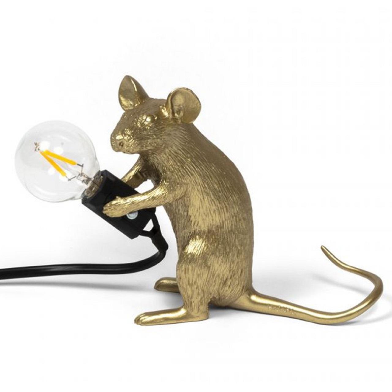 Luminária Mouse Sentado | dourado