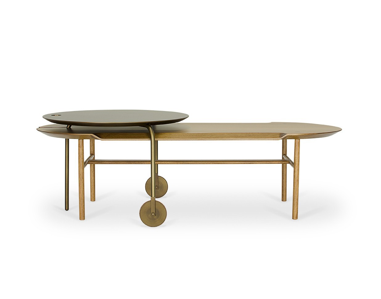 Mesa de Centro Camafeu Oblolnga (uma peça redonda e outra oval)