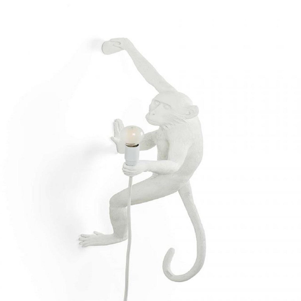 Monkey Lamp pendurado direita   Branco