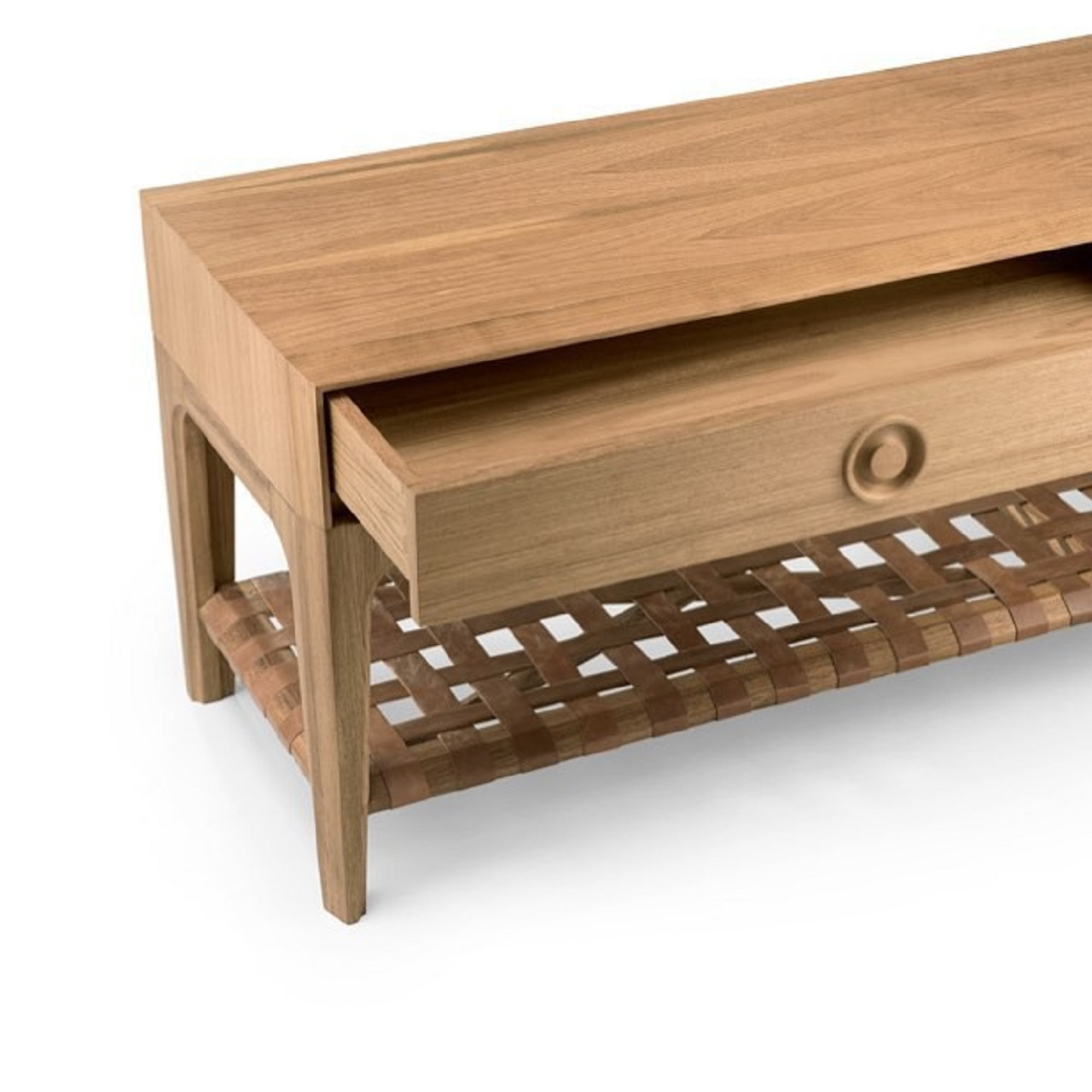 Sofá Table Duetto | freijó natural e couro camel