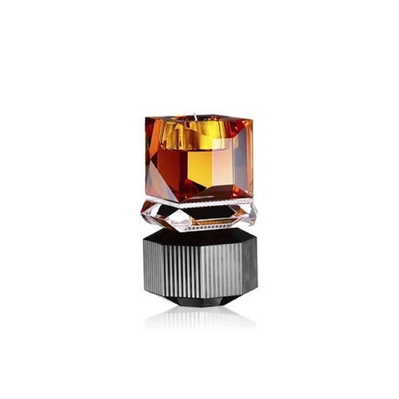Suporte T-Light Dakota | cristal ambar e preto