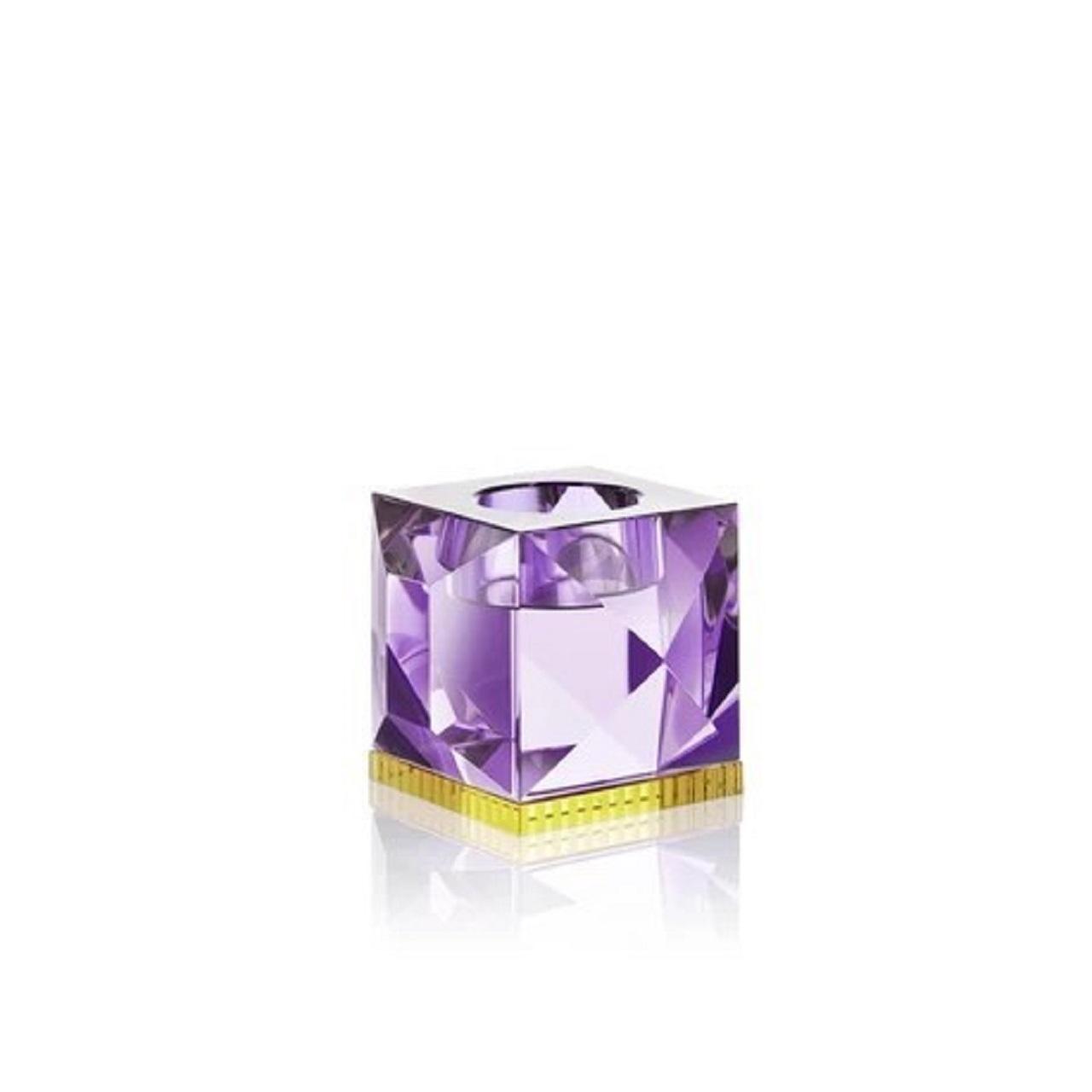 Suporte T-Light Ophelia | cristal roxo e amarelo