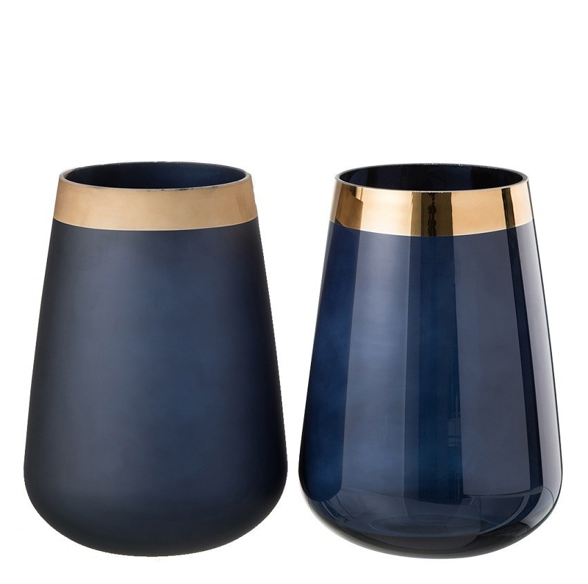 Vaso Azul com Borda Dourada