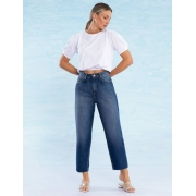 Calça Jeans Escura Feminina Baggy Íris