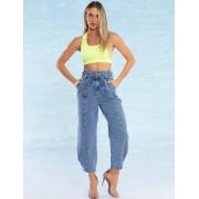Calça Jeans Feminina com Amarração e Regulagem Baggy Lírio