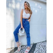 Calça Jeans Escura Feminina Cenoura Malta