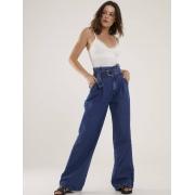 Calça Jeans Escura Feminina Pantalona Clochard Madri
