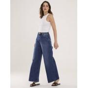 Calça Jeans Escura Feminina Pantalona Ocean