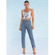 Calça Jeans Feminina Reta com Resina de Glitter Charlotte