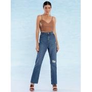 Calça Jeans Feminina com Destroyed Reta Flore