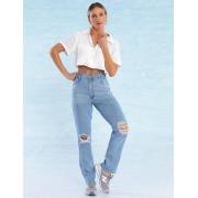 Calça Jeans Feminina Destroyed Reta La Passion