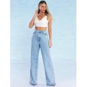 Calça Jeans Feminina Wide Leg Paris