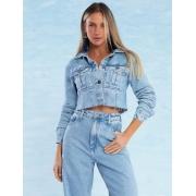 Jaqueta Jeans Feminina Cropped Paris