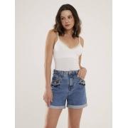 Short Jeans Feminino Bordado Atelier Safira