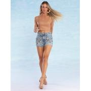 Shorts Jeans Feminino Bordado Atelier Unaquita