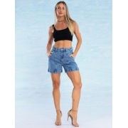 Shorts Jeans Feminino com Recortes L'Amour