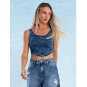 Top Jeans Feminino com Amarração Joie