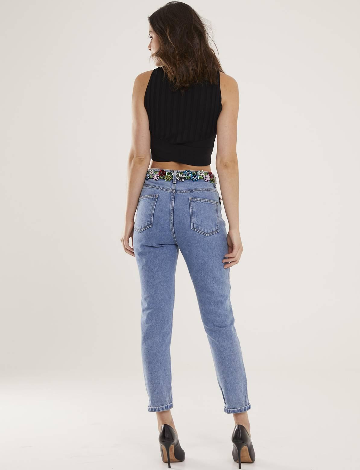 Calça Jeans Feminina Bordada Atelier Esmeralda