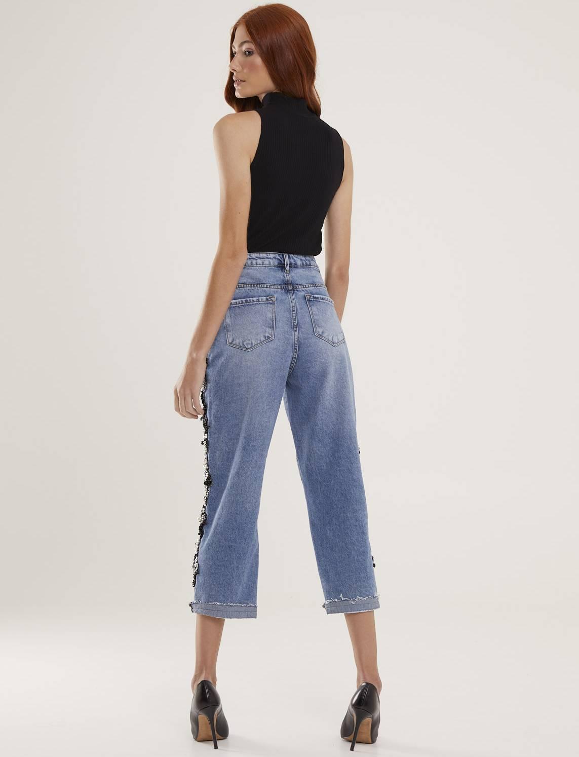 Calça Jeans Feminina Bordada Atelier Ônix