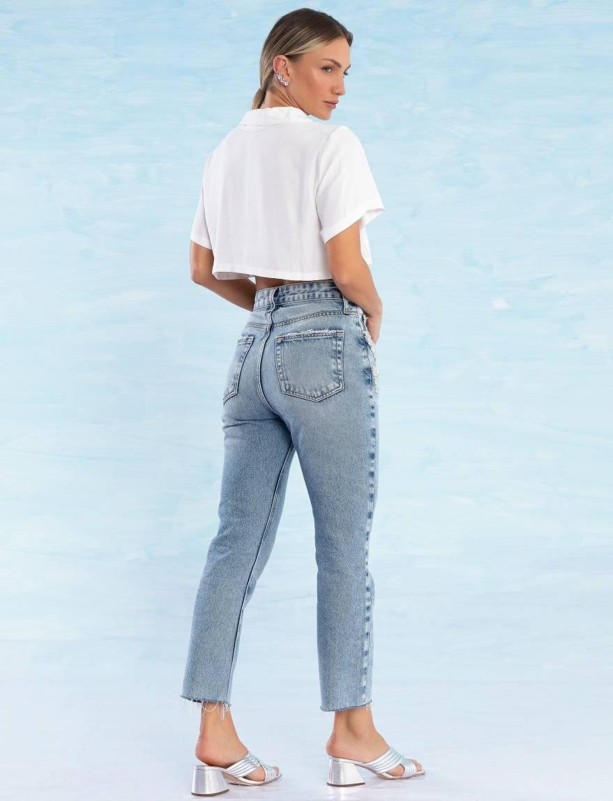 Calça Jeans Feminina Bordada Atelier Quartzo
