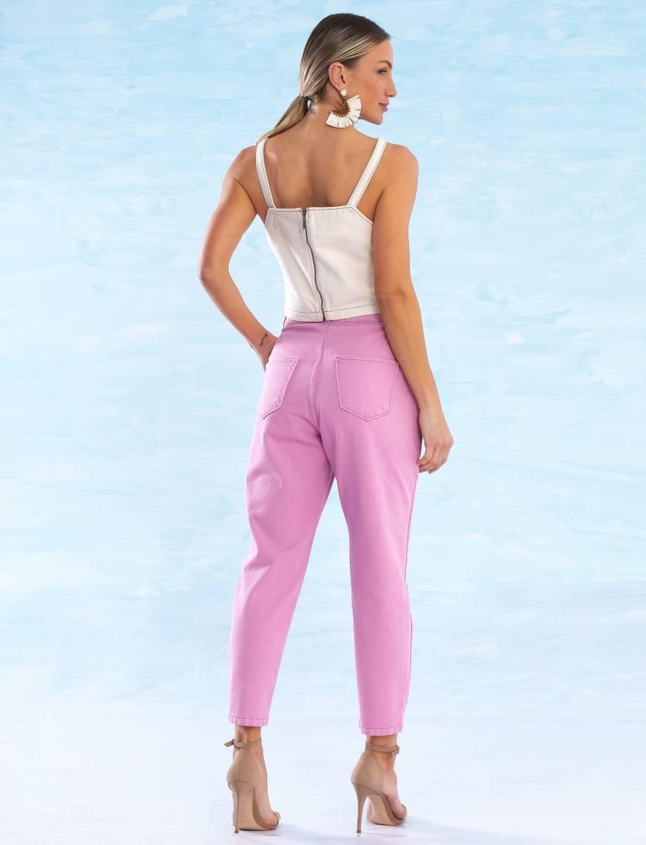 Calça Cenoura Jeans Colorida Feminina Catherine Rosa