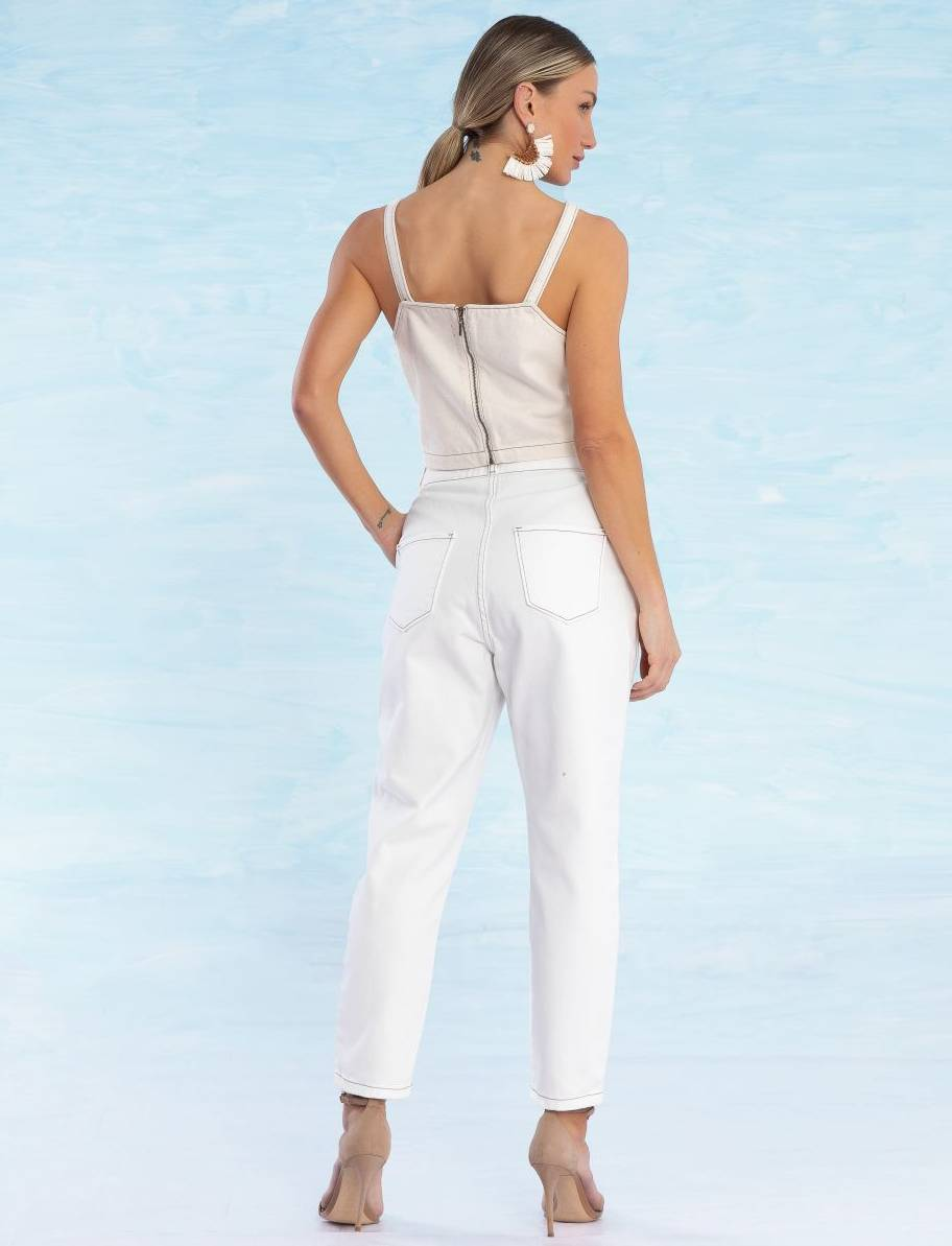 Calça Cenoura Jeans Colorida Feminina Catherine Off White