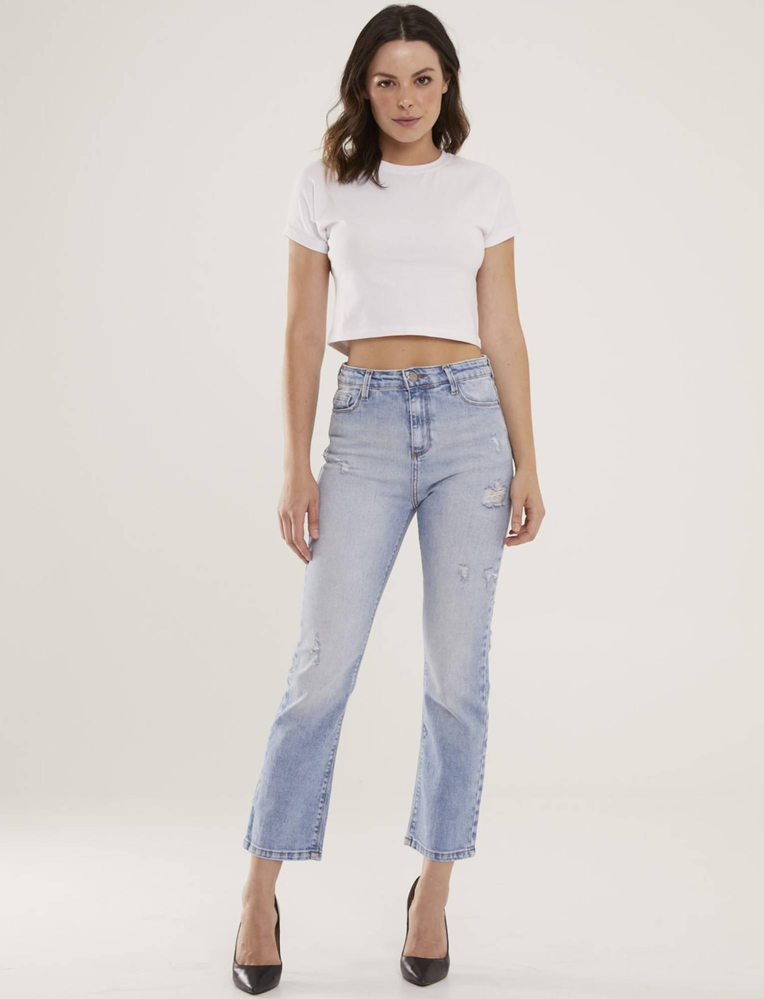 Calça Jeans Feminina Destroyed Reta Lili