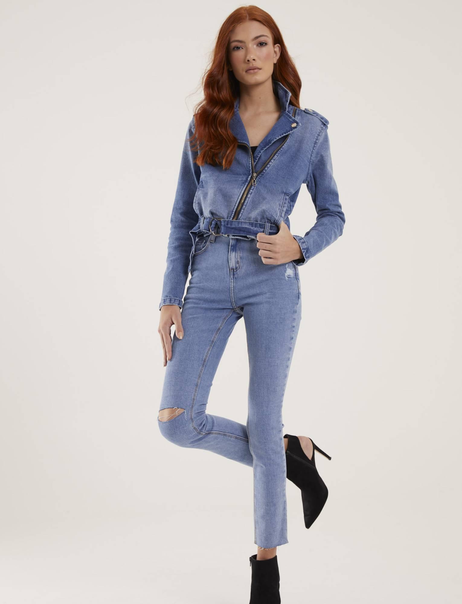 Calça Jeans Feminina Skinny com Rasgo Viena