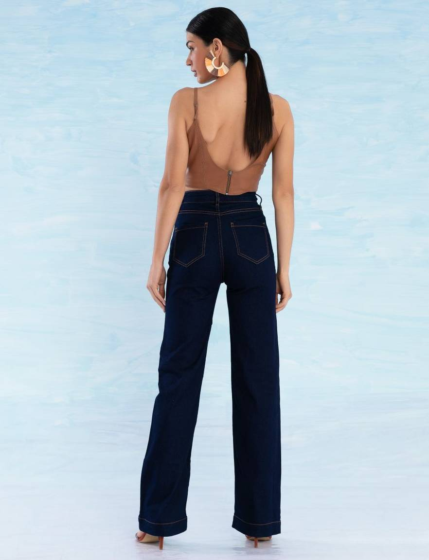 Calça Jeans Escura Feminina Pantalona Atena