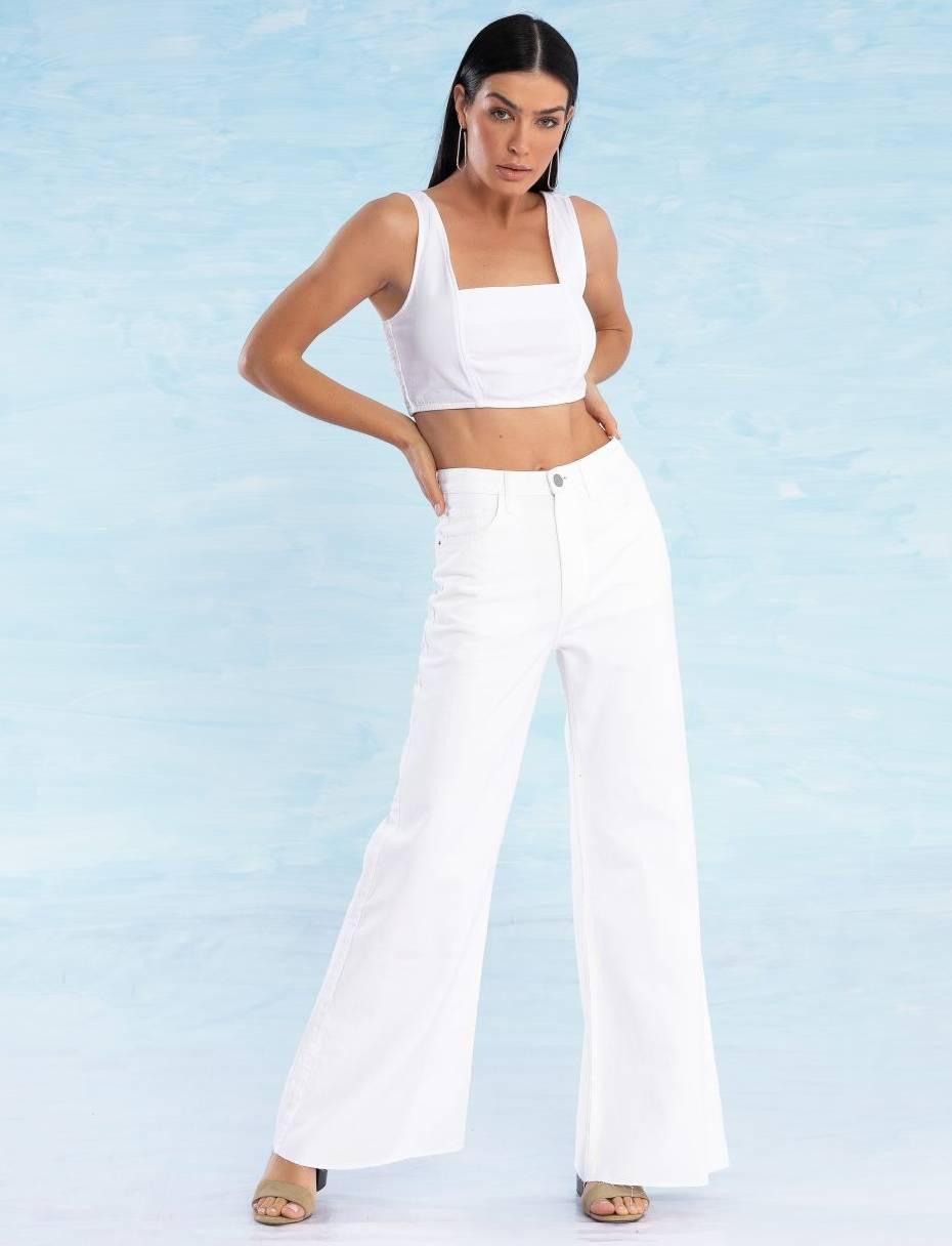Calça Jeans Off White Feminina Pantalona Laurie