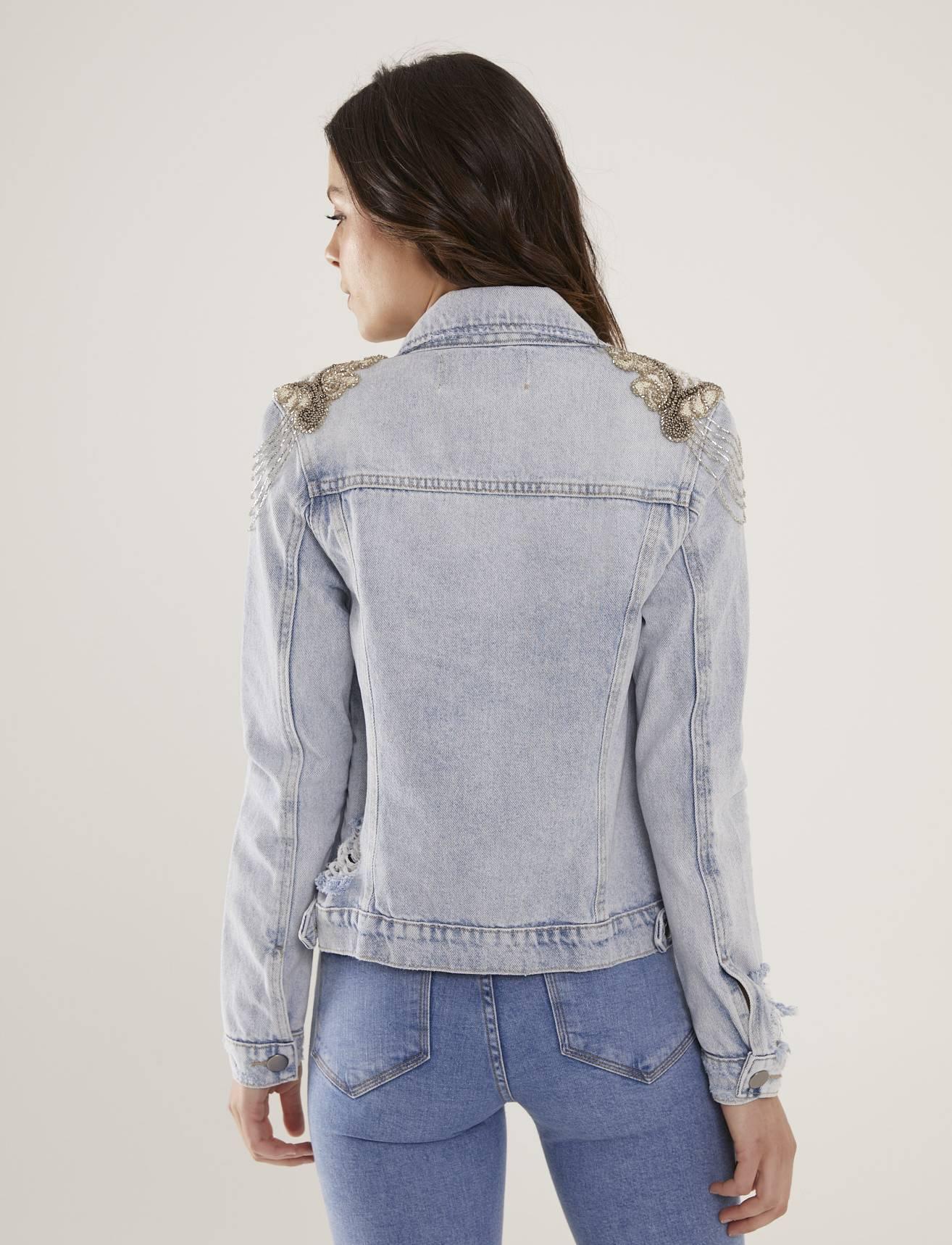 Jaqueta Jeans Feminina Bordada Atelier Quartzo Branco