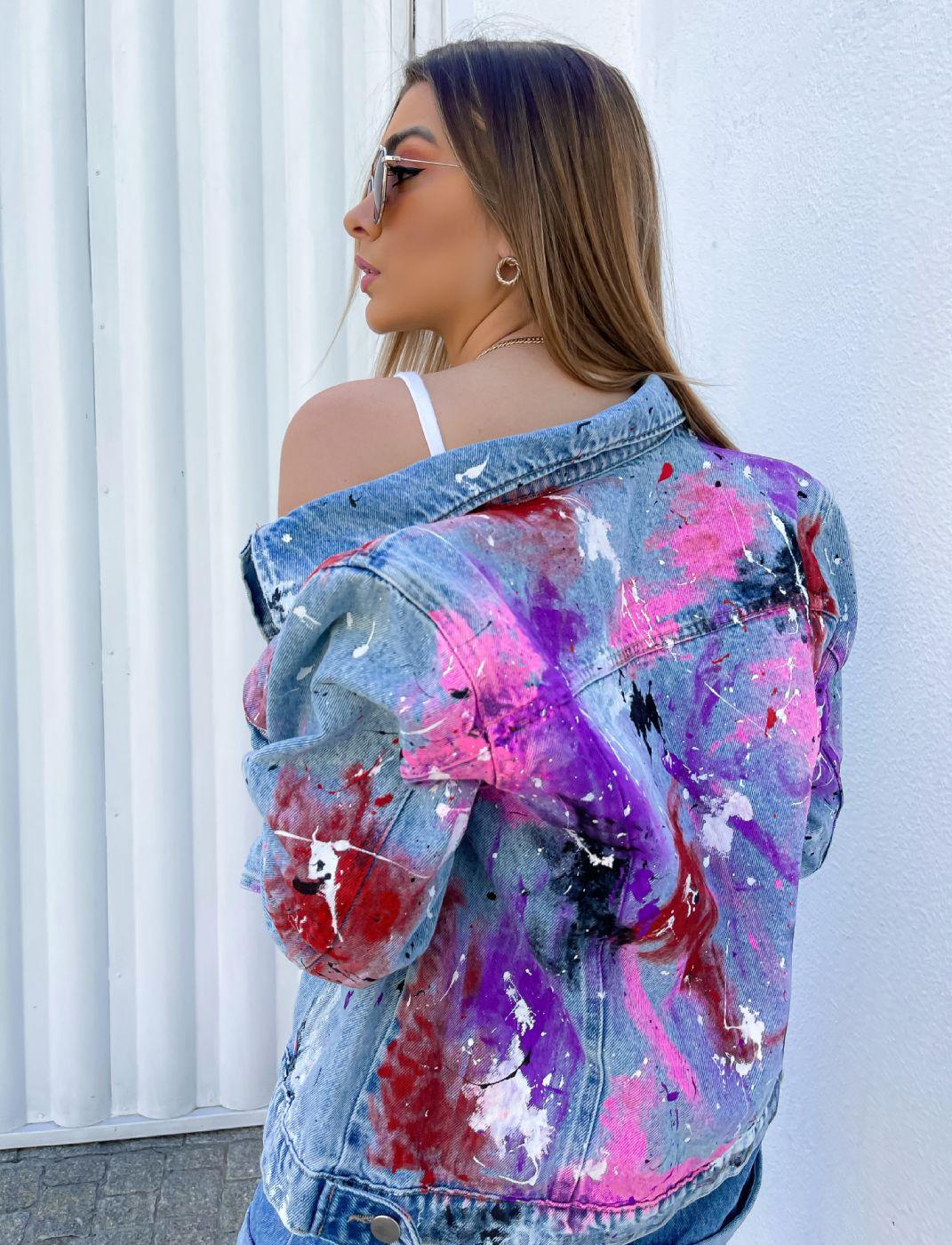 Jaqueta Jeans Feminina Customizada Denim Art
