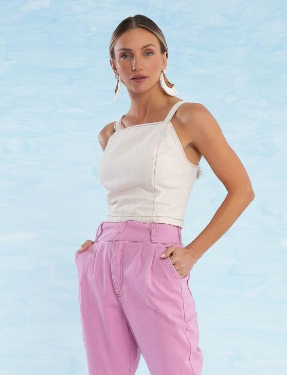 Top Jeans com Decote Quadrado Catherine