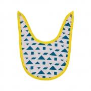 Babador Bebê Algodão Orgânico Estampado Azul e Amarelo