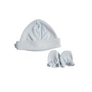 Kit Touca e Luva Azul para Bebê em Algodão Egípcio c/ fator UV50+