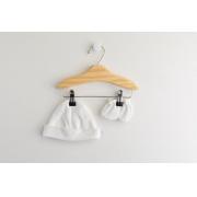 Kit Touca e Luva Marfim para Bebê em Algodão Egípcio c/ fator UV50+