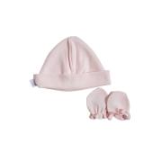 Kit Touca e Luva Rosa para Bebê em Algodão Egípcio c/ fator UV50+