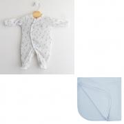 Saída Maternidade Macacão Algodão Egípcio Ursinho Balão Azul c/ UV50+