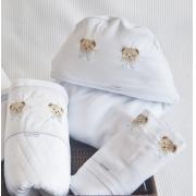 Toalha de Banho Bebê c/ Capuz Bordado Encantado Toque Aveludado