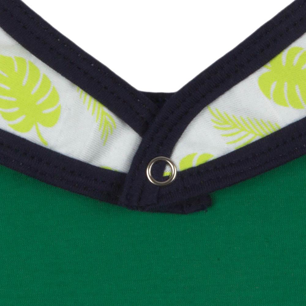 Babador Bebê Algodão Orgânico Estampado Verde Cítrico e Marinho