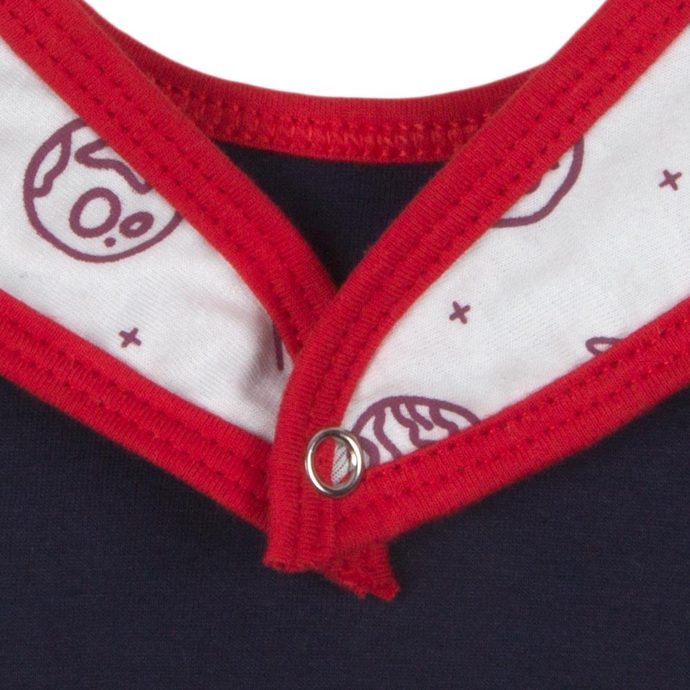 Babador Bebê Algodão Orgânico Estampado Vermelho e Branco
