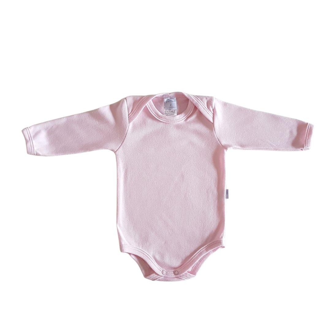 Body Bebê Algodão Egípcio Longo Rosa