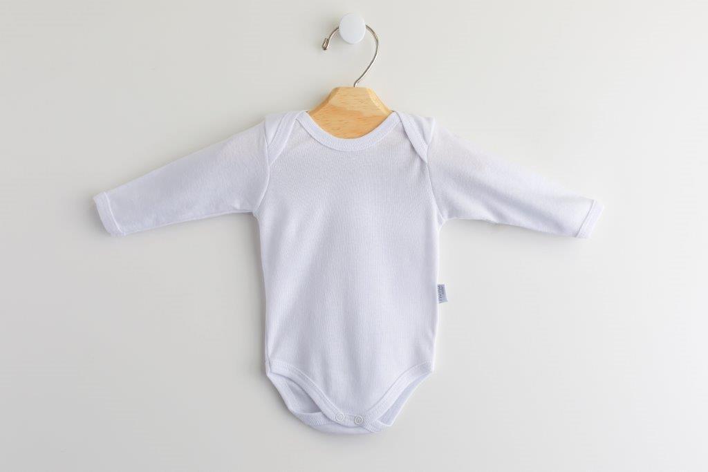 Body Bebê Branco Básico Manga Longa  100% Algodão