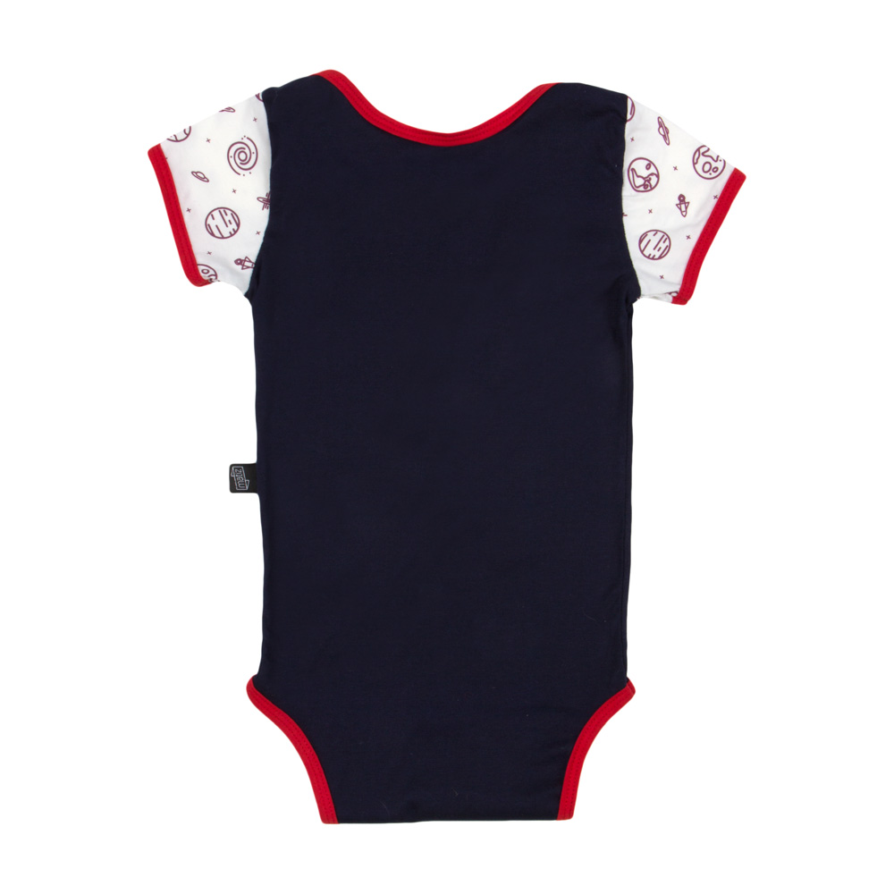 Body Bebê Curto Algodão Orgânico Estampado Azul Marinho