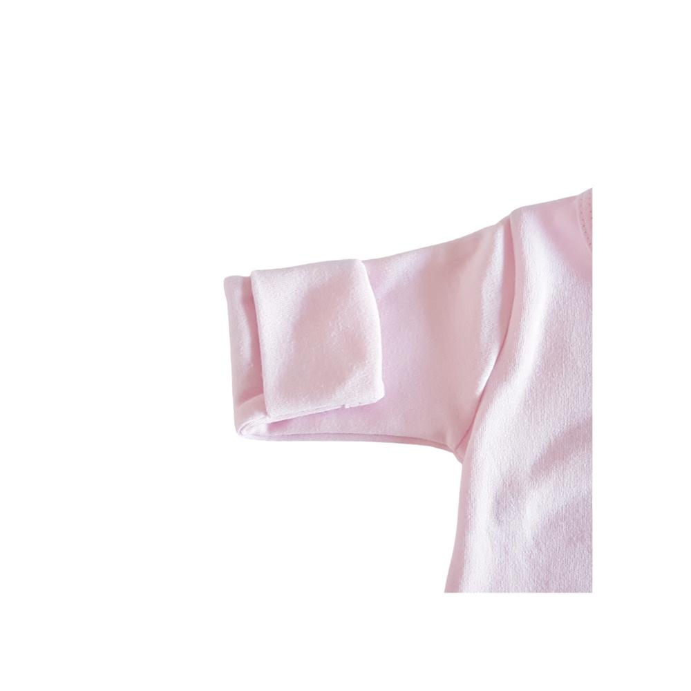 Body Kimono Algodão Egípcio Rosa c/ Punho Reversível